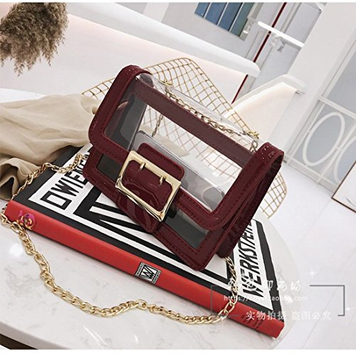 color Cross for Clear Bag Purse Bag Transparent AWESAMA 4 Body Red Chain Clutch Women Strap girls 1wX6Sq
