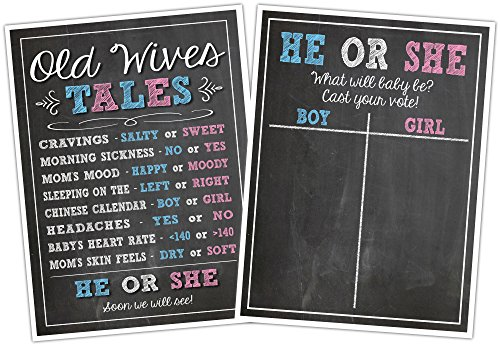 Katie Doodle Baby Gender Reveal Party Supplies Games Kit Includes: Voting and Old Wives Tales Poster Board Signs with Erasable Chalk Marker [Style GR003], 11x17 Inches, Black]()
