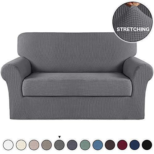 Turquoize 2 Piece Couch Covers for Furniture Sofa Protector Cover with Separate Cushion Cover with Jacquard Small Checked Fabric Gray Loveseat Slicover/Furniture Cover (Loveseat, Charcoal Gray)