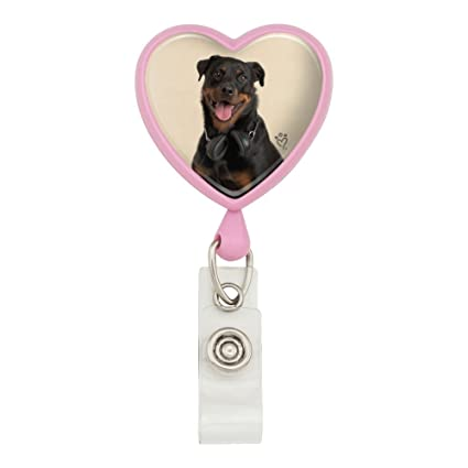 Rottweiler Dog Headphones Sitting DJ Heart Lanyard Reel Badge ID Card Holder