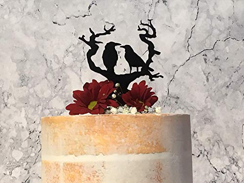 Cheyan Chic Wedding Cake Topper Raven Gothic Cake Decor Halloween Decoraion Nevermore Crow Decoration Name Personalized Cake Topper for Wedding Decoration
