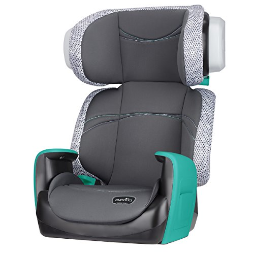 Evenflo Spectrum 2-in-1 Booster Seat, Ergonomic Seat Base, Machine Washable, High-Back Booster, No-Back Booster, Advanced Compression Technology, Side-Impact Tested, Teal Trace (Evenflo Amp High Back Booster Car Seat Carrissa)