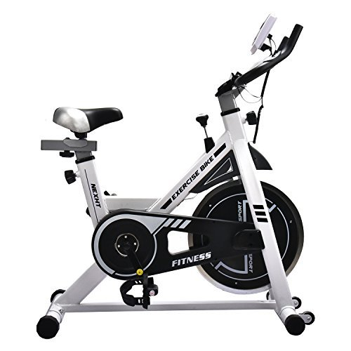 NexHT Fitness Exercise Cycle Bike (89100A) Indoor Workout Cycling Bike w/LCD Monitor& Heart Pulse Sensors,Max User Weight:280lbs,Full Adjustable Health Sport Trainer Stationary Bicycle -White