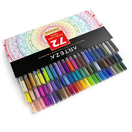 Arteza Fineliner Pens - 72-Colors - 0.4mm Line - Metal-Clad Encased Tips - (Set of 72)