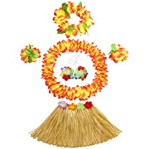 30cm Hawaiian grass skirt performance costume set for girls