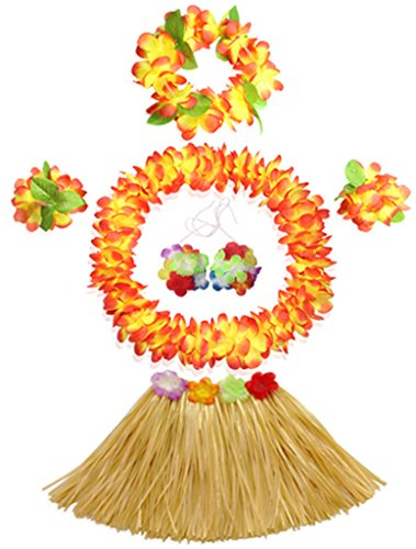 Fighting to Achieve 30cm Hawaiian Grass Skirt Performance Costume Set for Girls -
