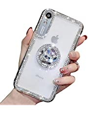 YiCTe Case for iPhone Xr [Not for iPhone X/Xs],Luxury Glitter Bling Diamond Shiny Rhinestone Crystal Ring Kickstand Cover Transparent Slim Fit Hard PC Stand Case for iPhone Xr,Silver