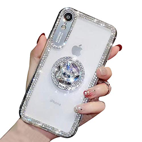 YiCTe Case for iPhone 6 Plus/6S Plus [Not for iPhone 6/6S],Luxury Glitter Bling Diamond Shiny Rhinestone Crystal Ring Kickstand Cover Transparent Slim Fit Hard PC Stand Case for iPhone 6S Plus,Silver