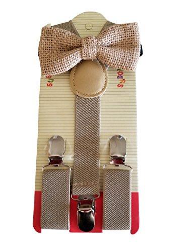 Hemp Bow Ties (Natural Colored Burlap) Colored Suspenders Set Combo Kids Children Baby ... ()