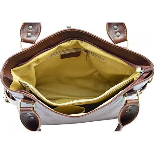 Echtes Leder Handtasche Mit Entfernbare Schulterriemen Farbe Braun - Italienische Lederwaren - Damentasche