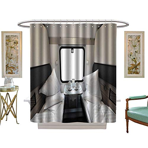 - luvoluxhome Shower Curtains 3D Digital Printing Interior Coupe in a Passenger Train car Bathroom Accessories W48 x L84