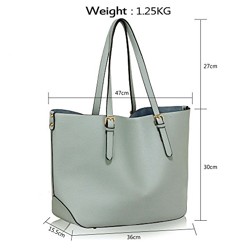 Tote 1 New Womens Shoulder Handbags Style Bags Blue Leather Faux Large Ladies Design Designer TTn71g