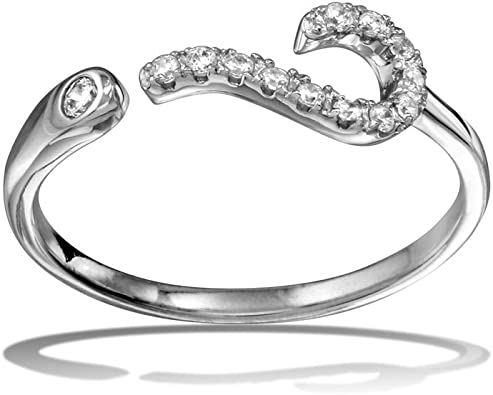 CloseoutWarehouse Clear Micro Pave Set Cubic Zirconia Heart Ring Rhodium Plated Sterling Silver