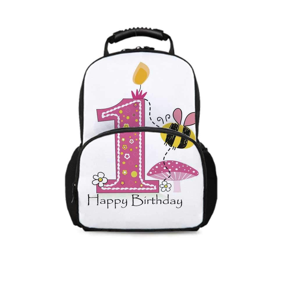 1st Birthday Decorations Leisure School Bag,Cartoon Like Image with Bees Party Cake Candle Print for School Travel,One_Size