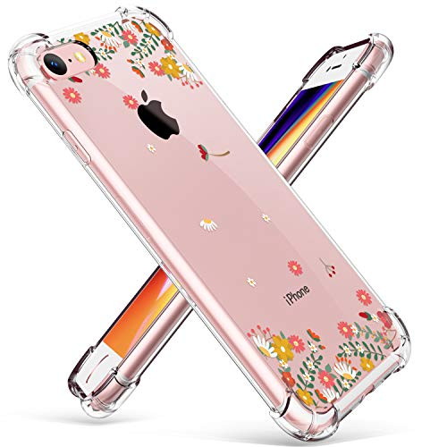 GVIEWIN Clear Flower Designed for iPhone 8 Case/iPhone 7 Case, Soft TPU Silicone Ultra-Thin Slim Fit Transparent Flexible Cover, Spring Flowers/Orange