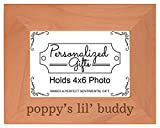 Personalized Gifts Grandpa Gift Poppy's Lil' Buddy Grandson Natural Wood Engraved 4x6 Landscape