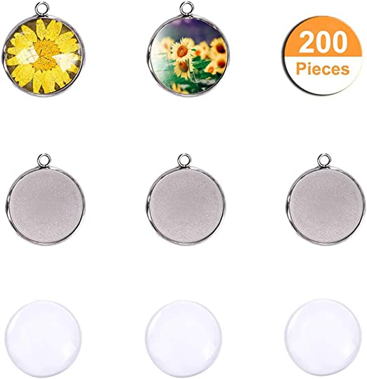 LANBEIDE 200-Pieces Stainless Steel Silver Bezel Pendant Trays 100 PCS with 100 Pieces Round Clear Dome Cabochon Settings Blanks for Jewellery Making Kits 8X8mm