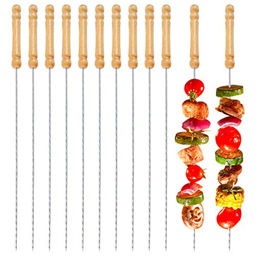 JOHOUSE Barbecue Skewers, 48 PCS Barbecue String with Wooden Handle BBQ Stick Needles Outdoor Camping Outings Cooking Tools
