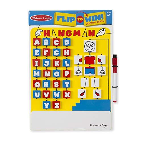 Melissa & Doug Flip-to-Win Hangman Travel Game (Wooden Word Game)