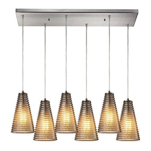 Ribbed Glass 6 Light Pendant In Satin Nickel And Mercury Glass 10333/6RC
