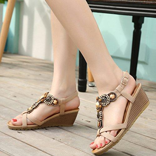 AIYOUMEI Damen Offen Knöchelriemchen T-spangen Keilabsatz Sandalen Retro Böhmen Schuhe Aprikose