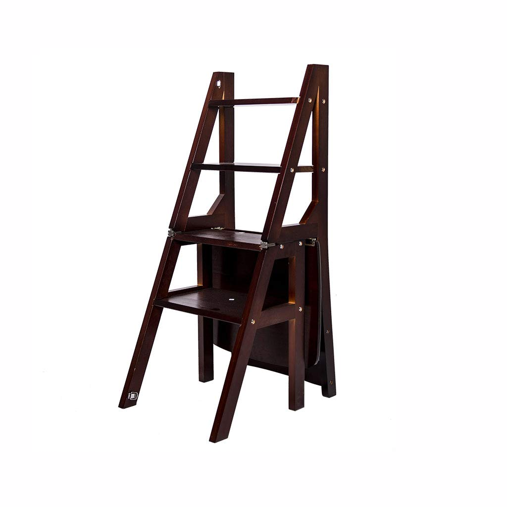 Solid Wood Folding Ladder Chair Dual-Purpose Step Stool 4 Step Ladder Rack Chair Multi-Function Convertible Stair Stool Home Kitchen Garden Library Max Load 150kg