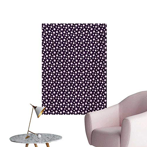 Anzhutwelve Retro Wallpaper Illustration of Concentric Circles Little Dots Short Vertical LinesDark Purple Pale Pink White W32 xL48 Funny - Concentric Dot