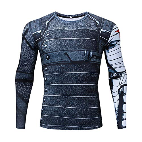 YUNYIYIS Men's Super-Hero Compression Sports Fitness Elastic T-Shirt Quick-Drying Running Winter Soldier-long-AC010-L]()