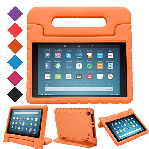 MENZO Case for All-New HD 8 2018/2017 - Shockproof Convertible Handle Light Weight Protective Stand Cover Kids Case for HD 8 (2017 and 2018 Releases) Tablet, Orange