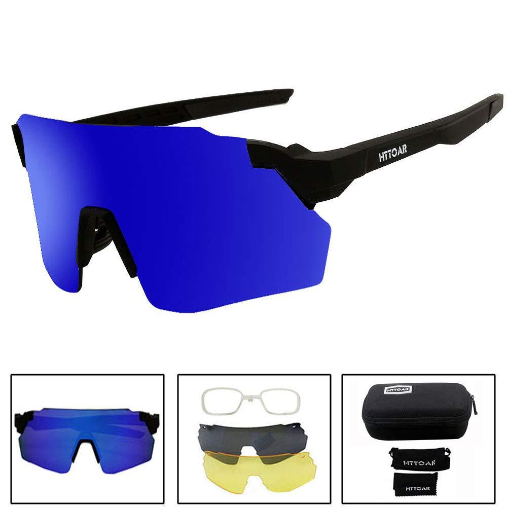 HTTOAR スポーツサングラス 偏光保護 UV400 サイクリング用メガネ 5つの交換可能なレンズ サイクリング 野球 釣り ゴルフ スキー ランニング  Black frame blue B07R1PD7Q5