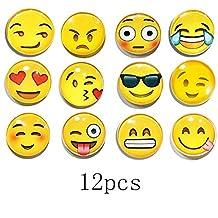 TEKEFT 12 Pack Refrigerator Magnets, Emoji Magnets Fridge Magnets 3D Funny Cute School Lockers Accessories Set (12pcs Emoji)