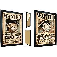 Kit 2 Quadros One Piece - Cartaz Procurado Luffy E Zoro