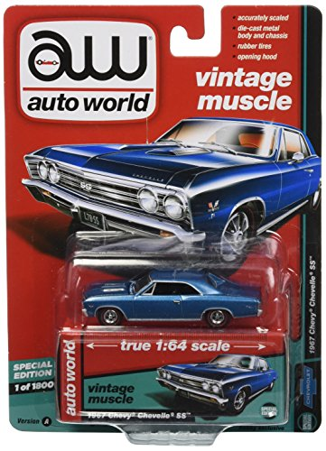 1967 Chevy Chevelle SS, Marina Blue - Auto World AW64132/24A - 1/64 Scale Diecast Model Toy Car