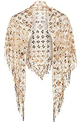 Gold-Triangle Shawl Wrap In Sequin Fringed