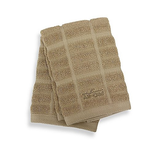 Solid Dish Cloths Set of 4 100% combed cotton (Cappuccino)