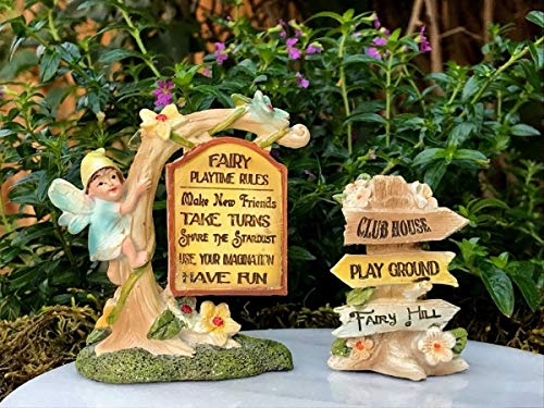 Miniature Fairy Garden Figurine ~ Wee Fairies Playtime Rules Signs Set of 2 New