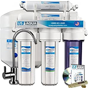 US Aqua Platinum Series Deluxe High Capacity 100GPD 5-Stage Under Sink Reverse Osmosis Ultimate Purifier Drinking Water Filter System - Free Bonus PPM Meter and Installation DVD
