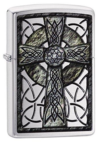Zippo Celtic Cross Design Street Chrome Lighter