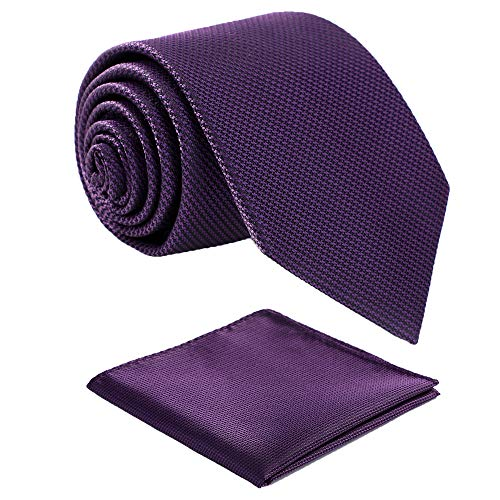 Fortunatever Violet Ties For Men,Mens Solid Necktie With Pocket Square+Gift Box,58