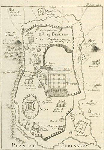 Map Plan Vintage (Historic 1784 Map | Plan de Jerusalem. | JerusalemAntique Vintage Map Reproduction)