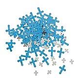 Unique 43830 Foil Blue Radiant Cross Boy First Communion Confetti
