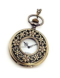 "Lancardo Vintage Style Antique Pocket Watch 31"" Chain in Antique Bronze Finish with Gift Bag"