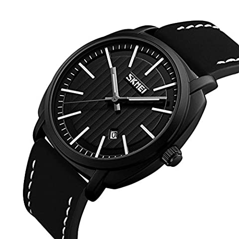 Men's Black Face Sport Watch Leather Band Analog Quartz Military Vintage Mens Wrist Watches (Classy Sports Watch)