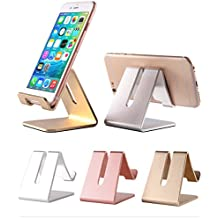Cell Phone Desk Stand Holder - ToBeoneer Aluminum Desktop Solid Portable Universal Desk Stand for All Mobile Smart Phone Tablet Display Huawei iPhone 7 6 Plus 5 Ipad 2 3 4 Ipad Mini Samsung (Silver)