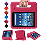Blue Wind Fire 7 2015 Case - Kids Shock Proof Convertible Handle Light Weight Super Protective Stand Cover for Amazon Fire Tablet (7 Inch Display - 5th Generation, 2015 Release Only), Magenta