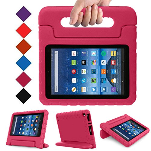Blue Wind Fire 7 2015 Case - Kids Shock Proof Convertible Handle Light Weight Super Protective Stand Cover for Amazon Fire Tablet (7 Inch Display - 5th Generation, 2015 Release Only), Magenta by Blue Wind