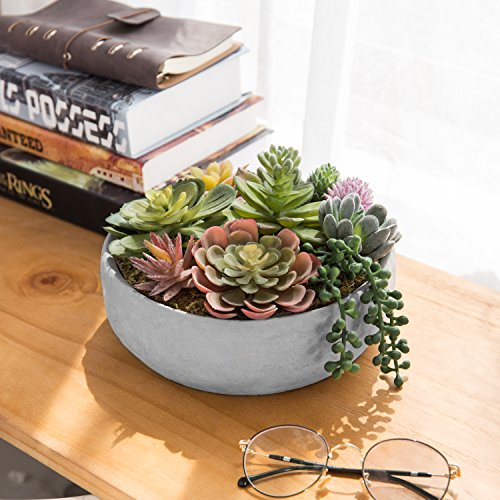 MyGift-8-Inch-Artificial-Succulent-Plant-Arrangement-in-Concrete-Pot