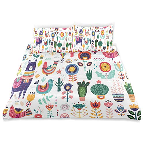 - CANCAKA Big Duvet Cover Set Big Collection Cute Llama Cacti Design Bedding Decoration Queen/Full Size 3 PC Sets 1 Duvets Covers with 2 Pillowcase Microfiber Bedding Set Bedroom Decor Accessories
