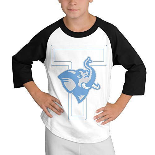 Amone Youth Boy's 3/4 Sleeve Raglan Tuft Elephant University Shirt Black