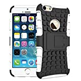 For iPhone 6 Plus / iPhone 6S Plus, Urvoix(TM) Hybrid Heavy Duty Dual Layer Shock Proof Rugged Shell Grenade Grip Tyre Kickstand Case Cover for 5.5'' iPhone 6Plus/6SPlus (NOT for iPhone6) White